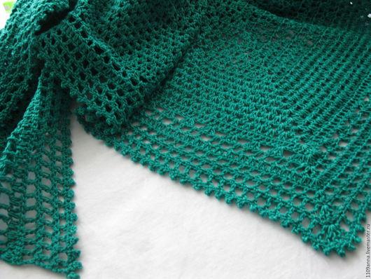 Шали, палантины ручной работы. Ярмарка Мастеров - ручная работа. Купить Летняя изумрудная шаль. Handmade. Зеленый, аксессуары на лето