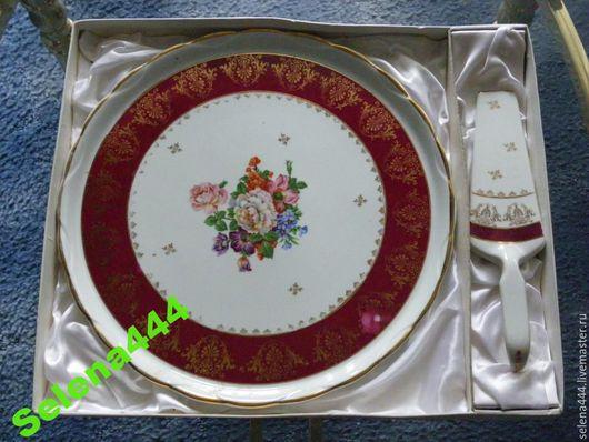 Винтажная посуда. Ярмарка Мастеров - ручная работа. Купить тортовница с совком Франция. Handmade. Разноцветный, Франция