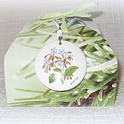 Украшения handmade. Livemaster - original item White pendant and earrings made of wood, borage decoupage blue green. Handmade.
