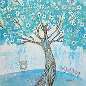 Картины и панно ручной работы. Ярмарка Мастеров - ручная работа Бирюзовые сны ( батик панно)Резерв. Handmade.