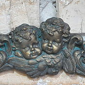 Для дома и интерьера handmade. Livemaster - original item Stucco Angels in the bas-relief on the wall of the fireplace Provence Vintage. Handmade.