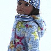 Одежда для кукол ручной работы. Ярмарка Мастеров - ручная работа Голубая шубка,шапка,рейтузы,шарфик. Handmade.