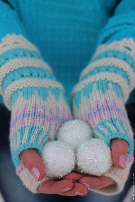 """Варежки, митенки, перчатки ручной работы. Ярмарка Мастеров - ручная работа. Купить Митенки """"Облачные"""". Handmade. Голубой, розовый, шёлк"""