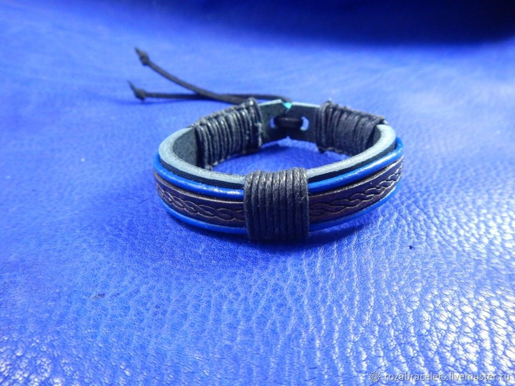 A leather bracelet Blue stripes, Bead bracelet, Ulyanovsk,  Фото №1