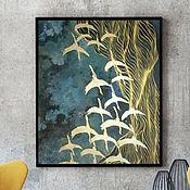 Картины и панно handmade. Livemaster - original item Interior painting Birds fly South. Handmade.