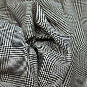 Материалы для творчества ручной работы. Ярмарка Мастеров - ручная работа Костюмная ткань, бежевый-черный в клетку. Handmade.