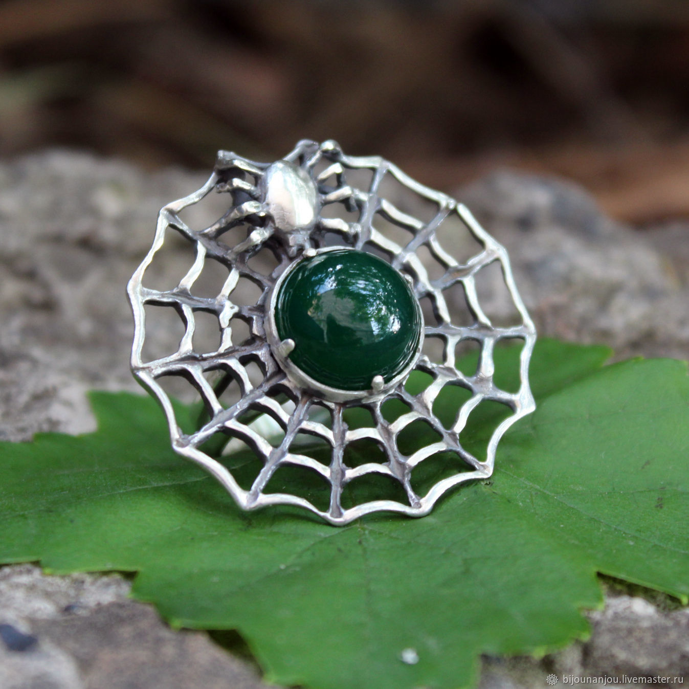 Spider Web ring 925 silver with jade and spider, Rings, Yerevan,  Фото №1