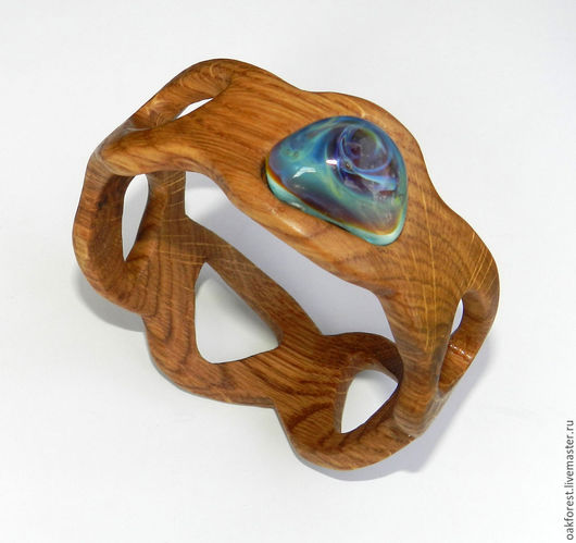 """Браслеты ручной работы. Ярмарка Мастеров - ручная работа. Купить Браслет из дерева с авторским кабошоном из стекла """"Водоворот"""". Handmade."""