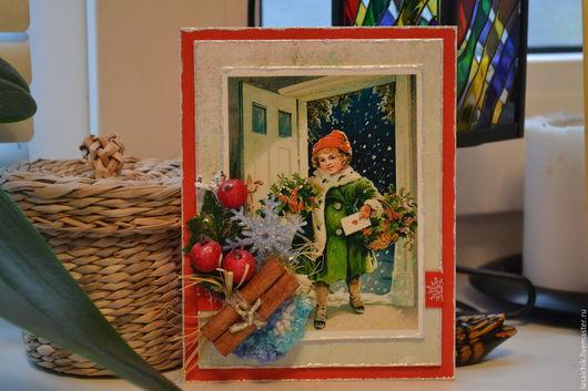 Открытки к Новому году ручной работы. Ярмарка Мастеров - ручная работа. Купить Новогодняя карточка-открытка. Handmade. подарок на новый год