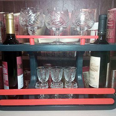 Мебель ручной работы. Ярмарка Мастеров - ручная работа Полка для вина и бокалов. Handmade.