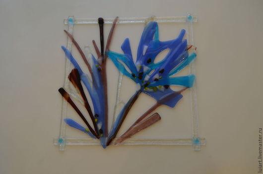 """Картины цветов ручной работы. Ярмарка Мастеров - ручная работа. Купить панно- подвес """"голубой миг"""". Handmade. Синий"""