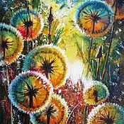 Картины и панно ручной работы. Ярмарка Мастеров - ручная работа Одуванчики картина маслом  на холсте  картина с цветами Летний пейзаж. Handmade.