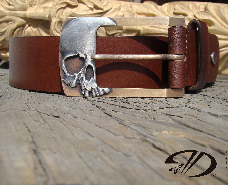 Ремень мужской с черепом ремень к сумке-портфелю кожаный купить