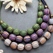 Работы для детей, handmade. Livemaster - original item Beads from polymer clay. Purple beads. Green beads. Handmade.