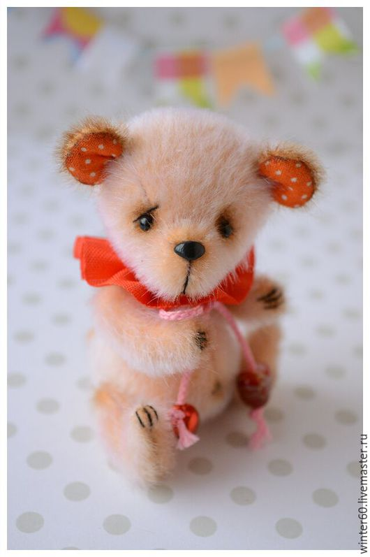 Мишки Тедди ручной работы. Ярмарка Мастеров - ручная работа. Купить Мишутка Персик. Handmade. Оранжевый, теддик, пластика запекаемая