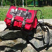 Сумки и аксессуары handmade. Livemaster - original item Messenger bag leather with textiles STUDENT. Handmade.