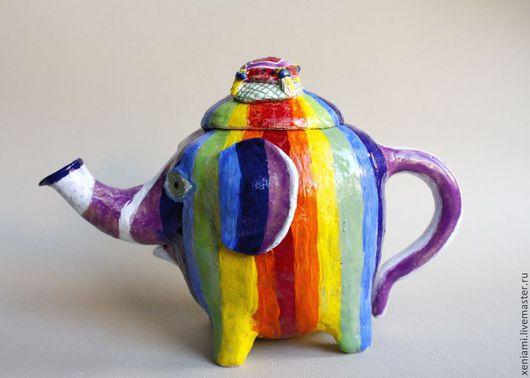 Персональные подарки ручной работы. Ярмарка Мастеров - ручная работа. Купить Чайник Слон. Handmade. Радуга, керамический чайник