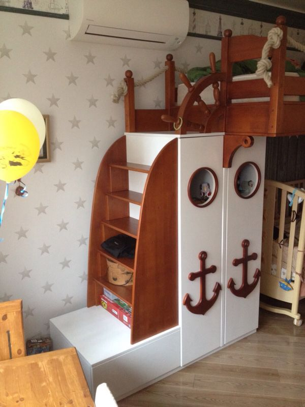 ... Loft Bed In A Marine Style With Decorative Elements In The Form Of An  Anchor, ...