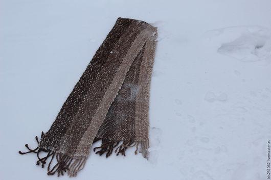 Шарфы и шарфики ручной работы. Ярмарка Мастеров - ручная работа. Купить шарф домотканый альпака. Handmade. Коричневый, мужской шарф