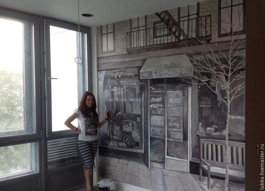 Декор поверхностей ручной работы. Ярмарка Мастеров - ручная работа. Купить Роспись стен в гостиной. Handmade. Чёрно-белый