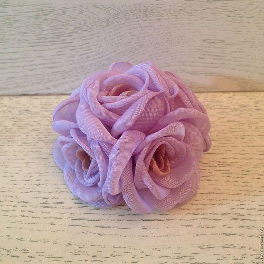 брошь сиреневый букет роз подарок женщине девушке оригинальная брошь сиреневые розы из ткани цветы из шифона красивое украшение подарок на любой случай 8 марта день рождения