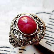 """Украшения ручной работы. Ярмарка Мастеров - ручная работа Ажурное кольцо """"Рамаяна"""" звездный рубин, ажурное серебро 925. Handmade."""