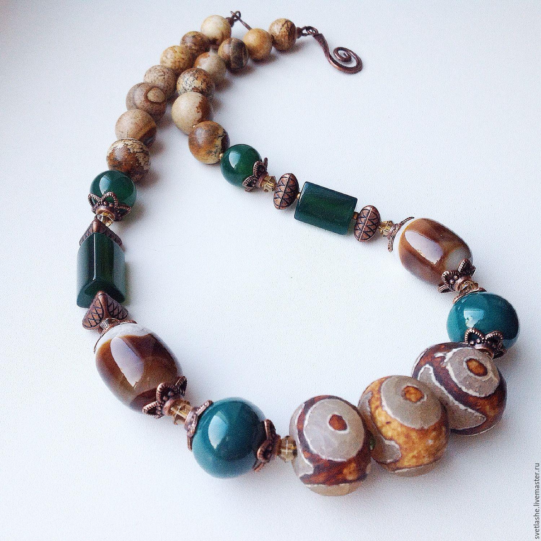 Колье бусы из Агата, хризопраза, яшмы с бусинами дзи украшение на шею ручной работы из натуральных камней купить в подарок.