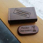 Сувениры и подарки handmade. Livemaster - original item Wooden flash drive with engraving in a box, souvenir, gift. Handmade.