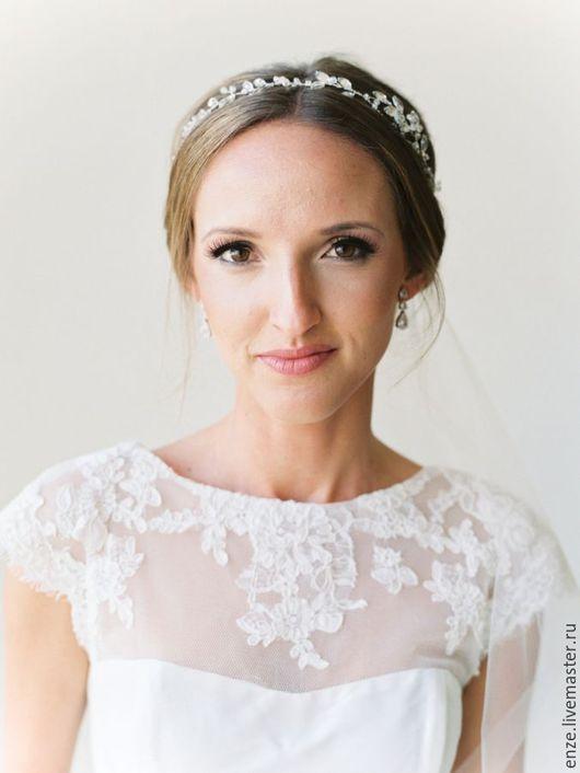 Свадебные украшения ручной работы. Ярмарка Мастеров - ручная работа. Купить Свадебный венок с кристаллами Венок в прическу невесты. Handmade.