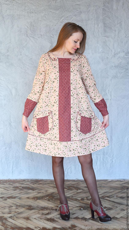 Тёплое вельветовое платье /бежевый+горошки на красно-коричневом, Платья, Кемерово,  Фото №1