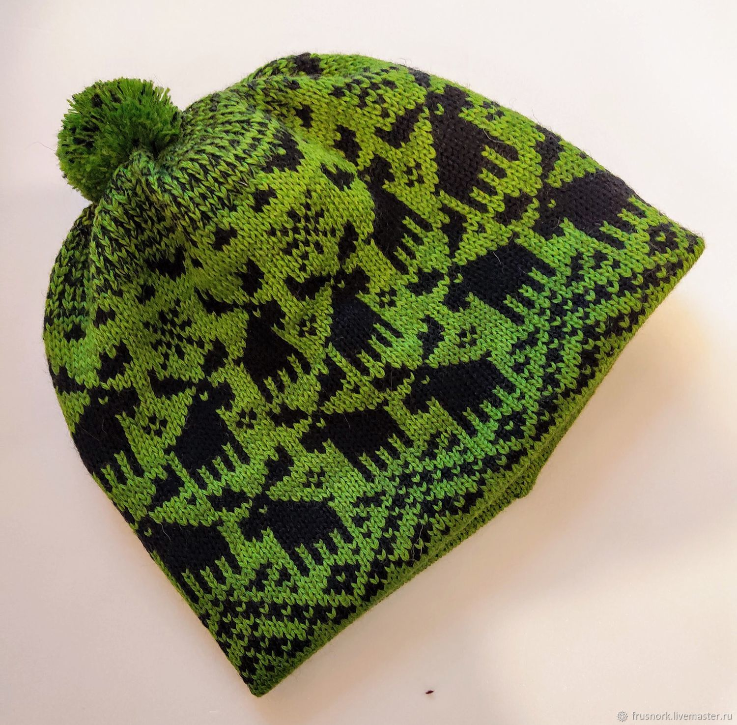 Winter cap for boy. Green hat with deer, Caps, Petrozavodsk,  Фото №1