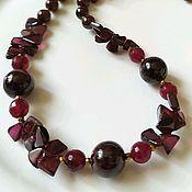 Украшения handmade. Livemaster - original item Garnet beads and gold plated fittings.. Handmade.