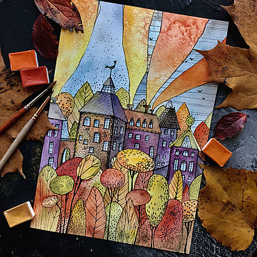 Картины и панно ручной работы. Ярмарка Мастеров - ручная работа Дома осенью тоже мечтают в тиши. Handmade.