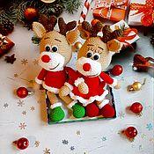 Мягкие игрушки ручной работы. Ярмарка Мастеров - ручная работа Новогодние олени. Handmade.