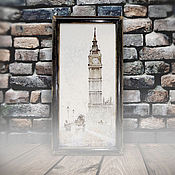 Картины и панно ручной работы. Ярмарка Мастеров - ручная работа картина акварелью А в Лондоне туман ( в состаренной раме, лофт). Handmade.