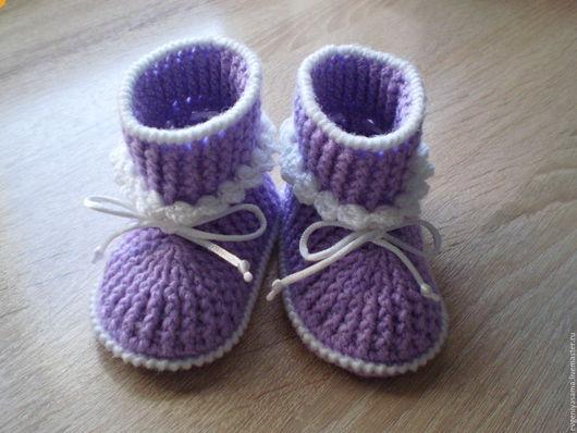 Для новорожденных, ручной работы. Ярмарка Мастеров - ручная работа. Купить Пинетки-ботиночки. Handmade. Пинетки, пинетки крючком