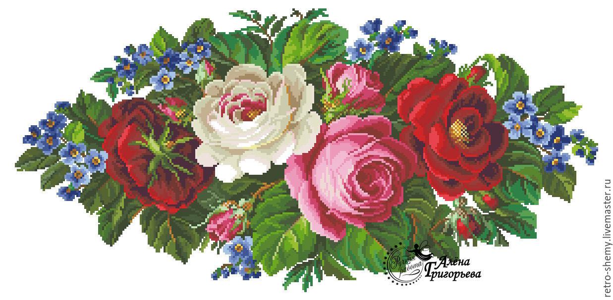 Ретро вышивка схемы цветы