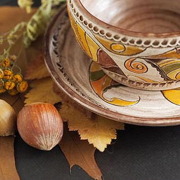 """Посуда ручной работы. Ярмарка Мастеров - ручная работа Чайная пара """"Лоскутная осень"""" Керамика.. Handmade."""