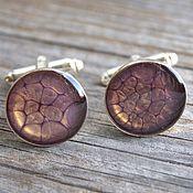 Украшения handmade. Livemaster - original item Cufflinks with painted purple color. Handmade.