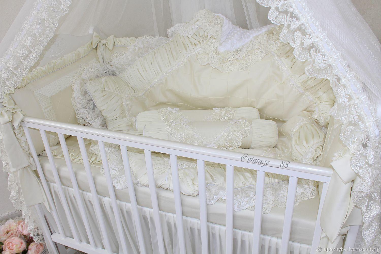 Для новорожденных, ручной работы. Ярмарка Мастеров - ручная работа. Купить Бортики в кроватку. Handmade. Бежевый, пледик