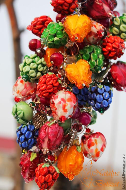 Колье браслет трансформер авторского стекла NBotezat бутонами малинками ягодами серебре 925. Комплект ювелирных украшений, серебряные комплекты украшений, купить колье,серьги в подарок девушке женщине