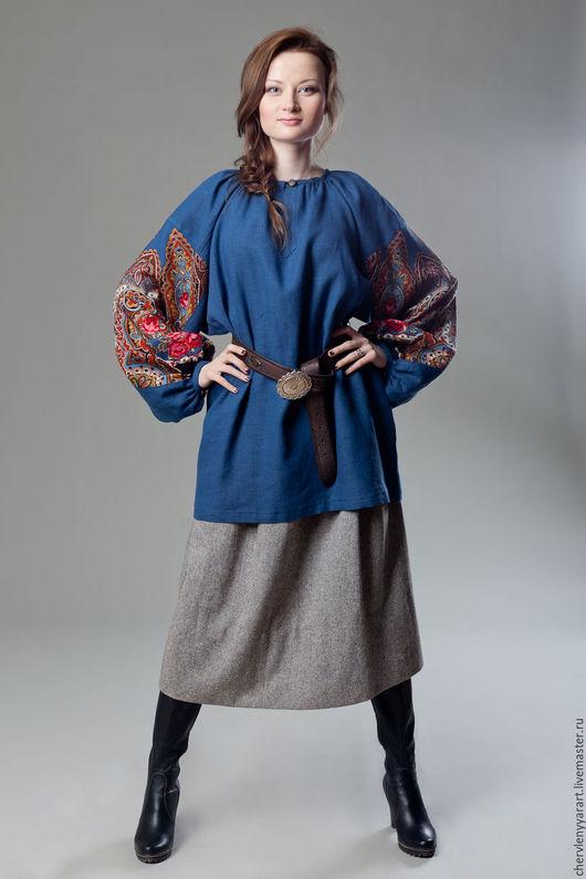 Платья ручной работы. Ярмарка Мастеров - ручная работа. Купить Рубаха павловопосадская синяя льняная с прямыми поликами женская. Handmade.
