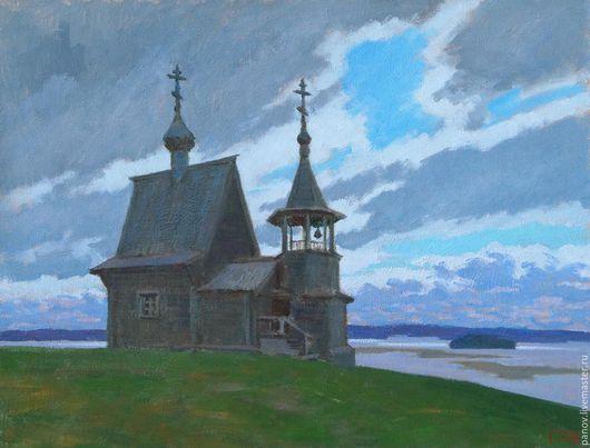 Пейзаж ручной работы. Ярмарка Мастеров - ручная работа. Купить Северная часовня. Handmade. Синий, храм, часовня, простор, река
