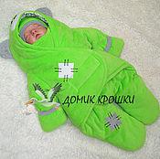 """Работы для детей, ручной работы. Ярмарка Мастеров - ручная работа Комбинезон-конверт для новорожденного """"Мишка Тедди"""" ярко-салатовый. Handmade."""
