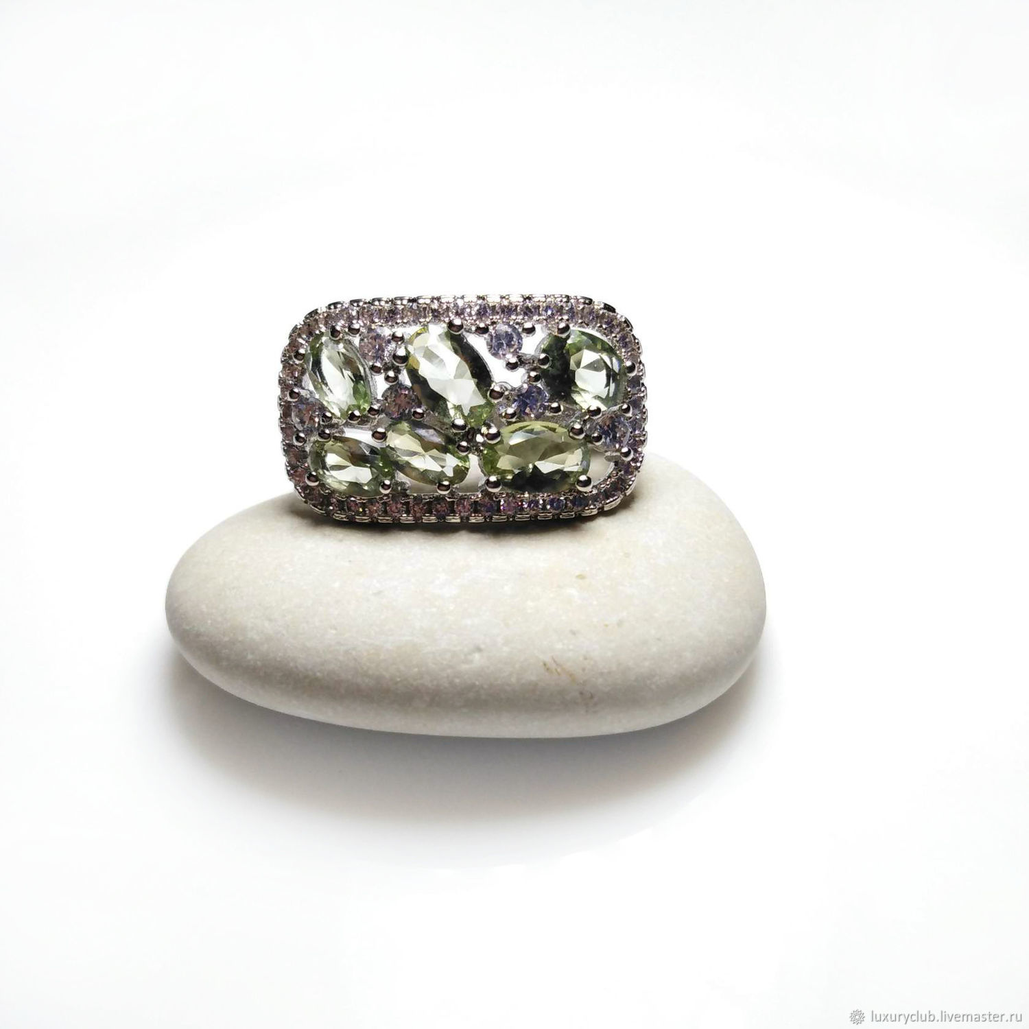 Ring with delicate green amethyst, Rings, Tolyatti,  Фото №1