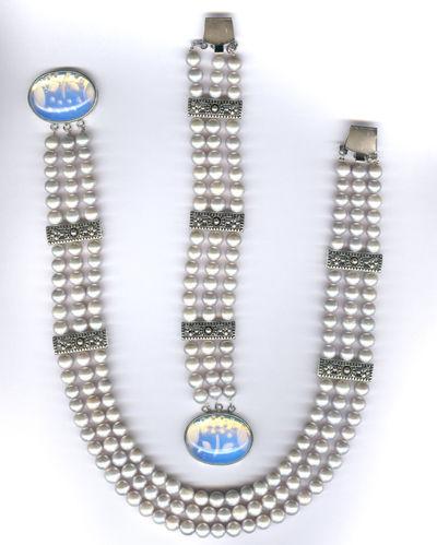 Jewelry Sets handmade. Livemaster - handmade. Buy pearl blue / grey / silver.Handmade, necklace, silver ring