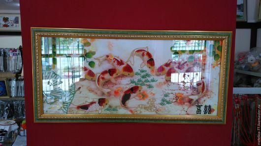 Текстиль, ковры ручной работы. Ярмарка Мастеров - ручная работа. Купить Японские карпы. Handmade. Вышивка бисером, картина в гостиную