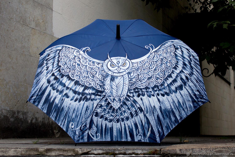 Hand-painted umbrella 'Owl', dark blue umbrella-cane, Umbrellas, St. Petersburg,  Фото №1