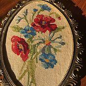 """Винтаж handmade. Livemaster - original item Панно - вышивка """"Полевой букет"""", ручная работа,  Голландия. Handmade."""