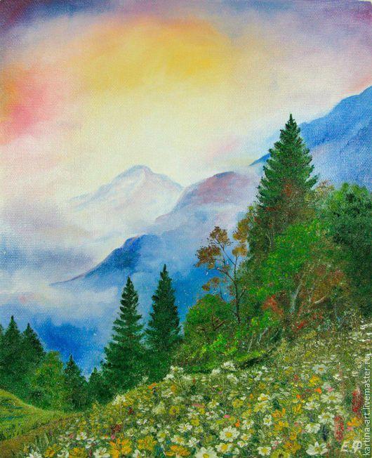 Пейзаж ручной работы. Ярмарка Мастеров - ручная работа. Купить Цветы в горах. Handmade. Комбинированный, живопись маслом, горы, цветы